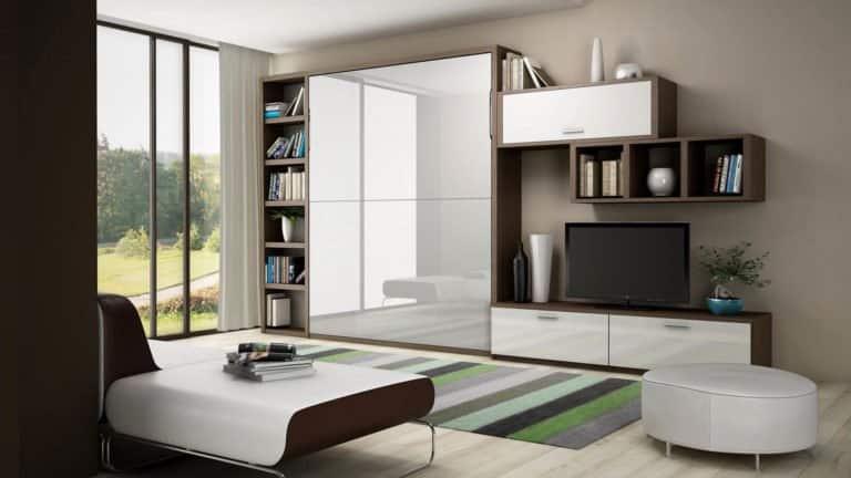 armoire lit escamotable blanc laqué