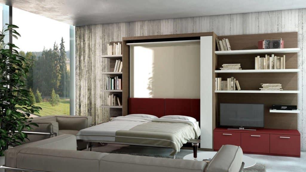 bibliothèque avec lit escamotable rouge