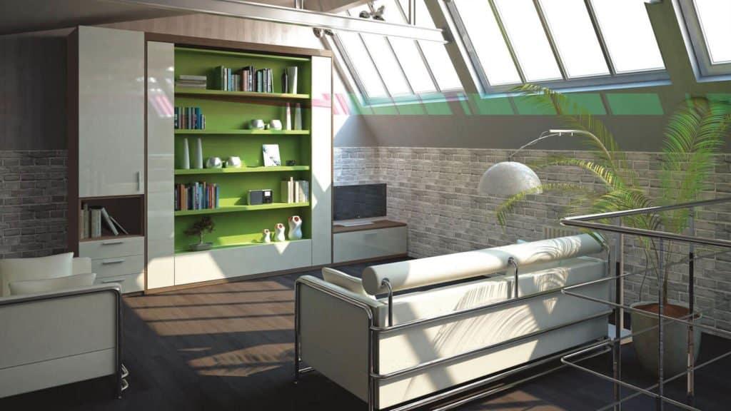 lit escamotable bibliotheque pivotant vert