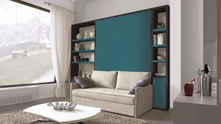 lit escamotable avec canapé bleu