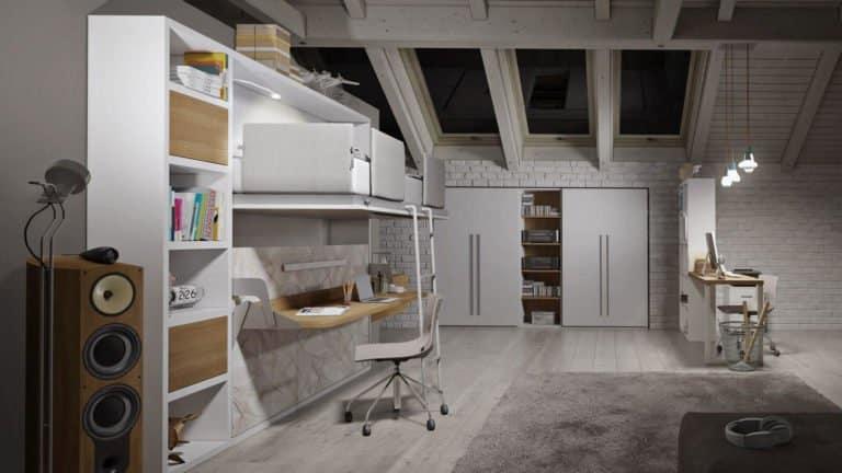 lits superposés escamotablesavec bureau