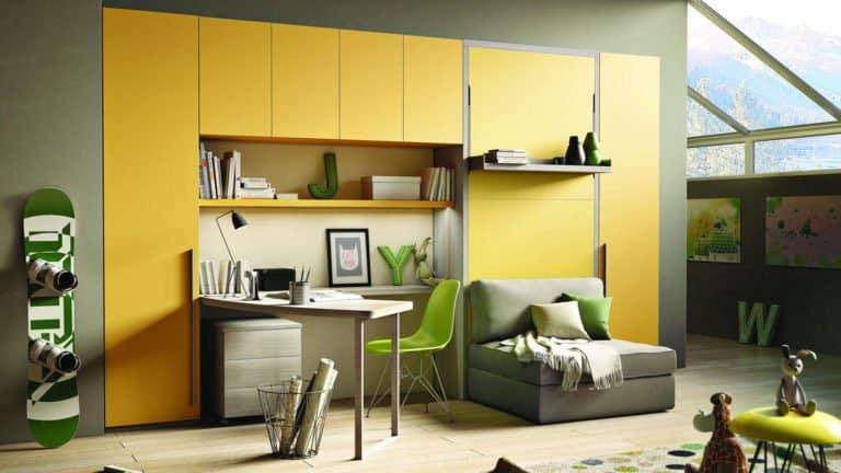 lit escamotable avec fauteuil une place jaune