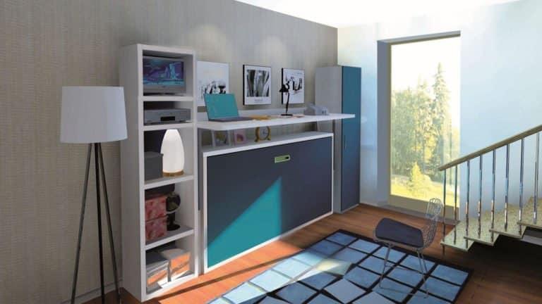 lit escamotable avec bureau une place