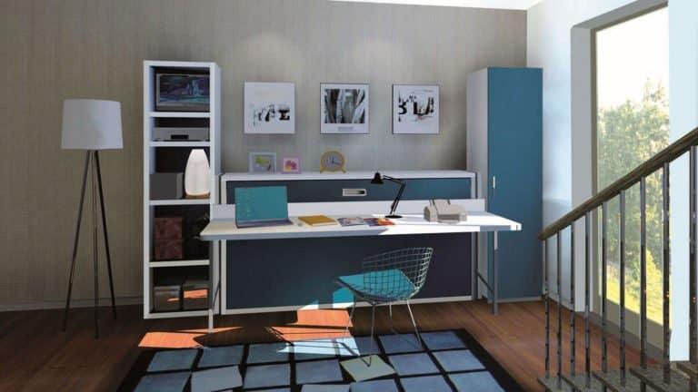 lit escamotable avec bureau intégré une place