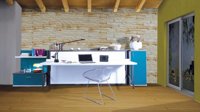lit escamotable blanc avec bureau une place