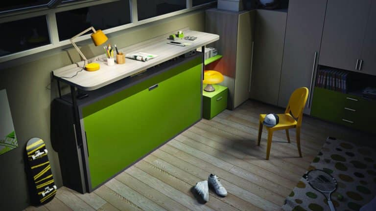 lit escamotable pour enfant et adolescent bureau étagère replié
