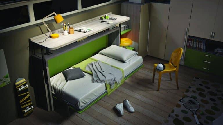 lit escamotable pour enfant et adolescent bureau étagère déplié