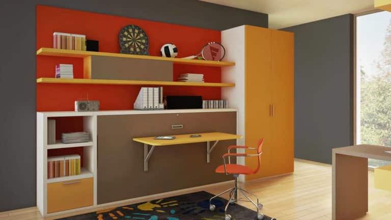 lit escamotable pour enfant et adolescent avec bureau repliable