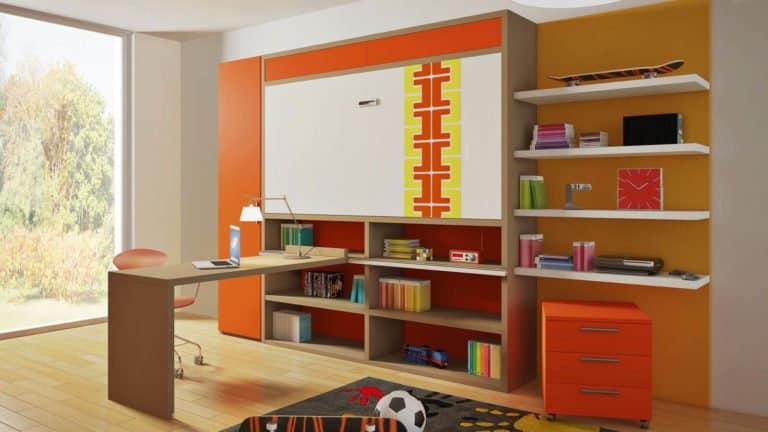 ensemble bureau lit escamotable pour enfant et adolescent