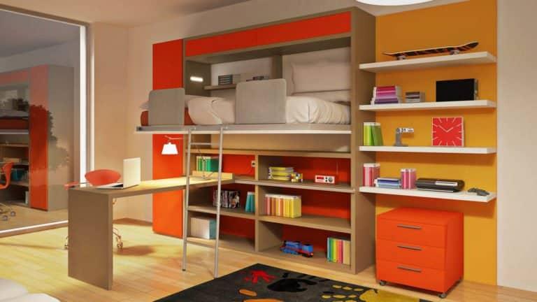 lit escamotable mezzanine ouvert pour enfant et adolescent