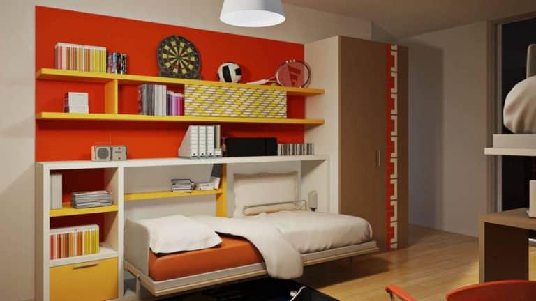 lit escamotable simple ouvert pour enfant et adolescent