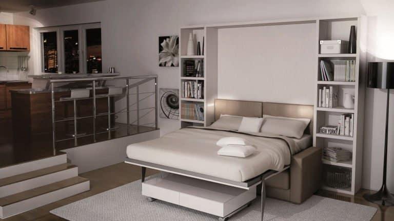 lit escamotable avec canapé ouvert