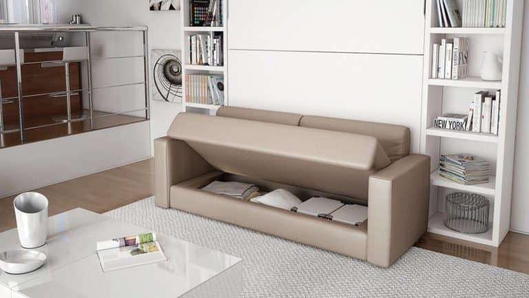 lit escamotable avec canapé rangements