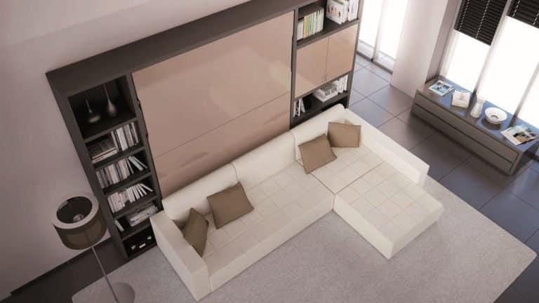 lit escamotable avec canapé blanc