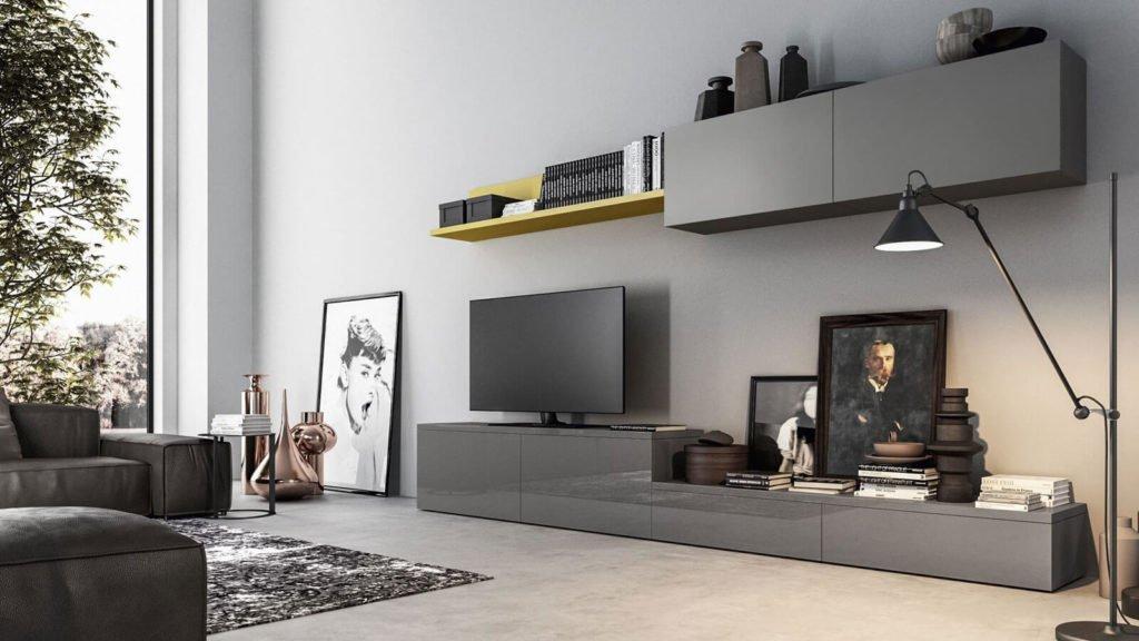 meuble tv laqué gris