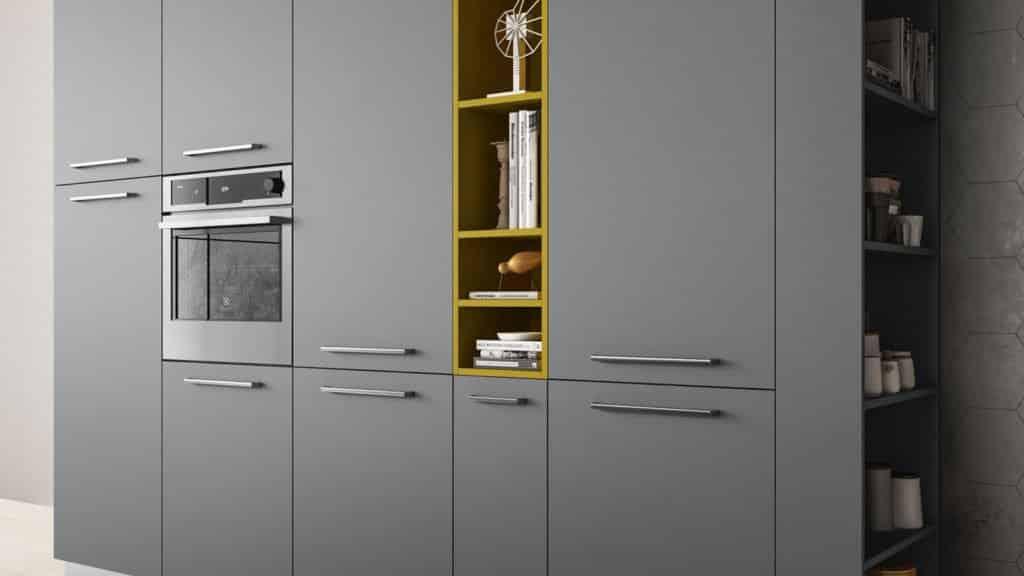 meubles de cuisine laqués gris