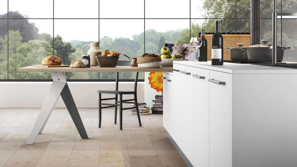table bois cuisine laquée blanche