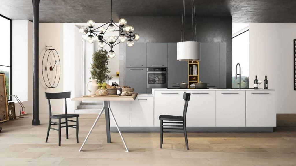 cuisine laquée blanche grise et bois