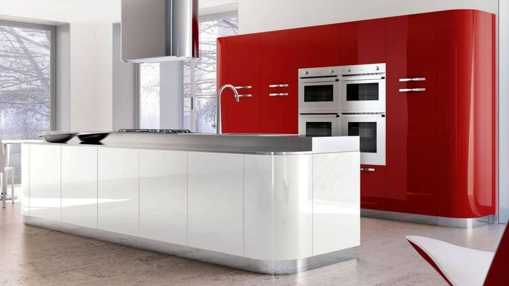 cuisine rouge et blanche arrondie