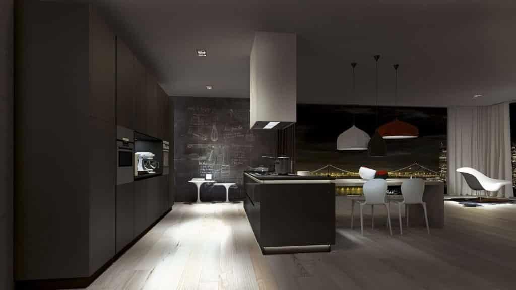 cuisine design blanche et grise nuit