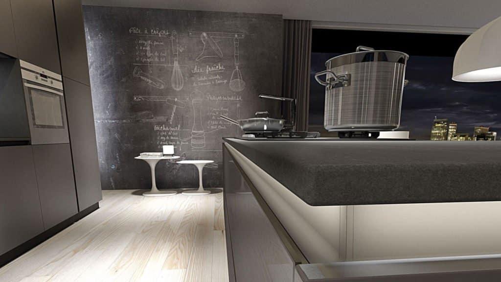 cuisine design blanche et grise plan de travail