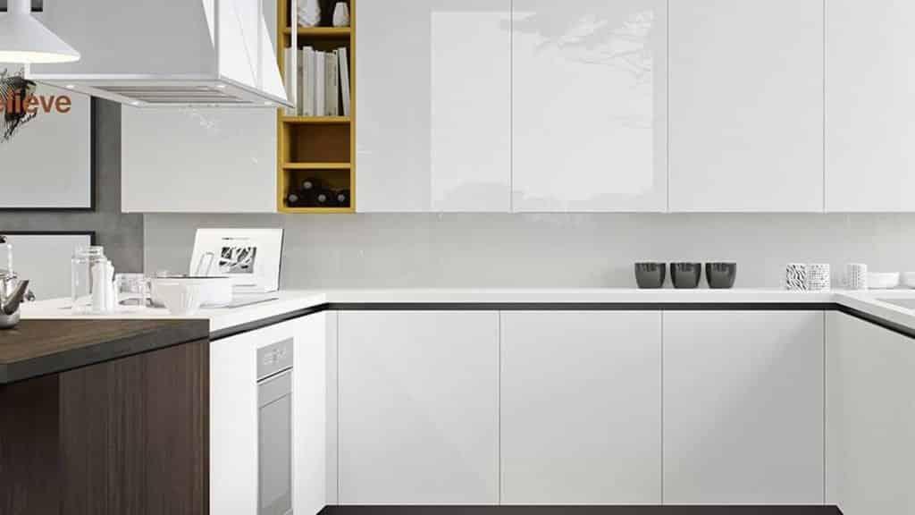 meubles de cuisine finition laquée brillante