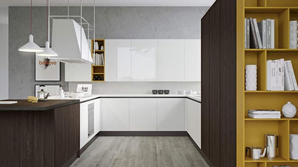 cuisine laque brillante blanche et bois