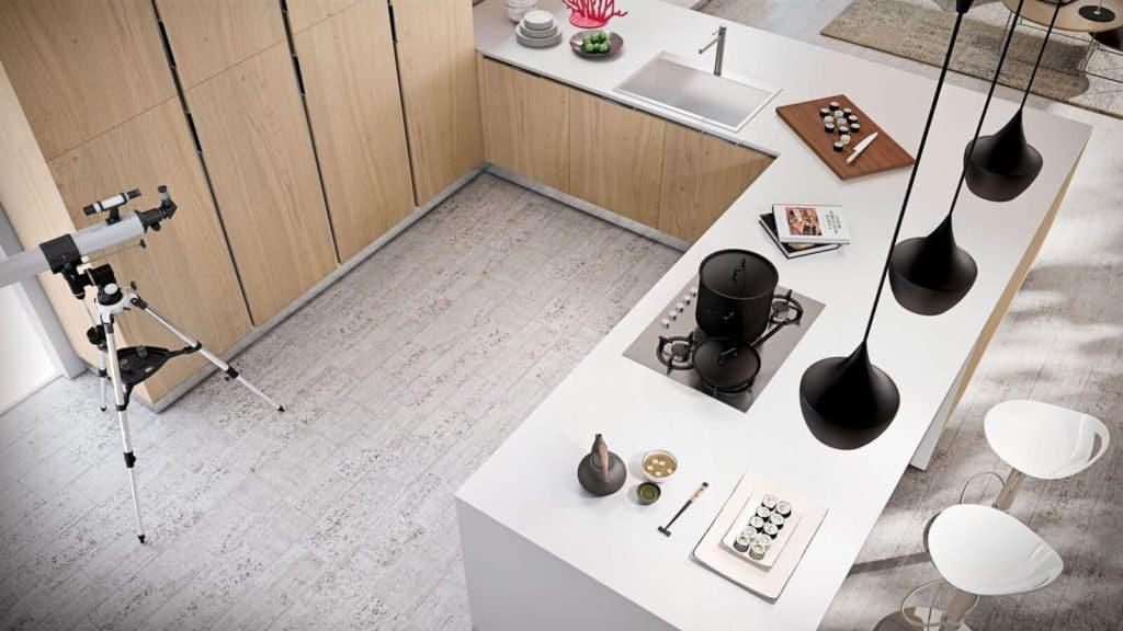 plan de travail blanc cuisine bois