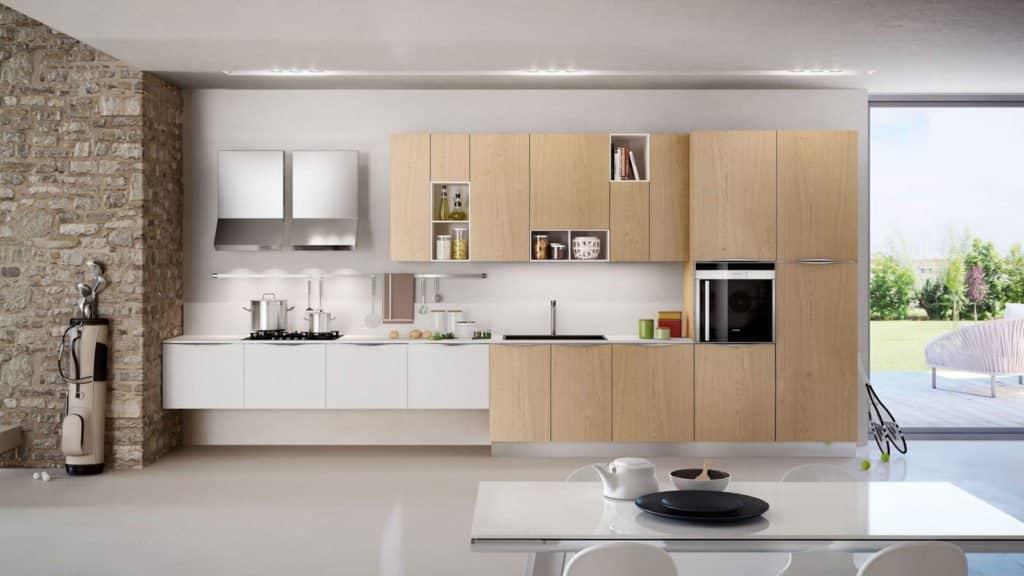 meubles de cuisine bois blond et blancs