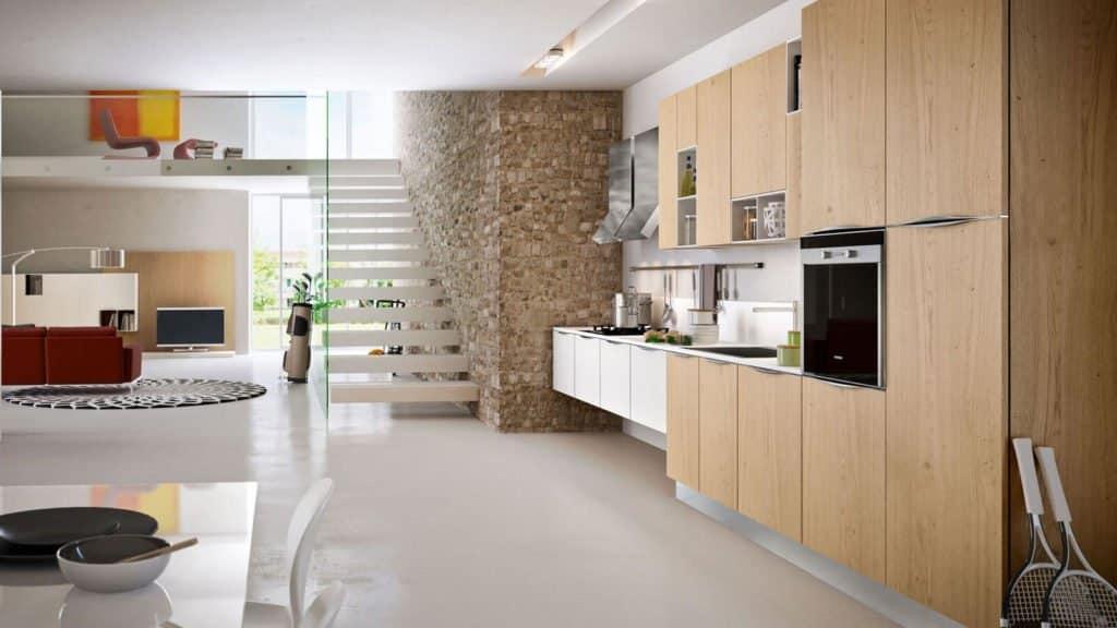 cuisine bois clair et blanc