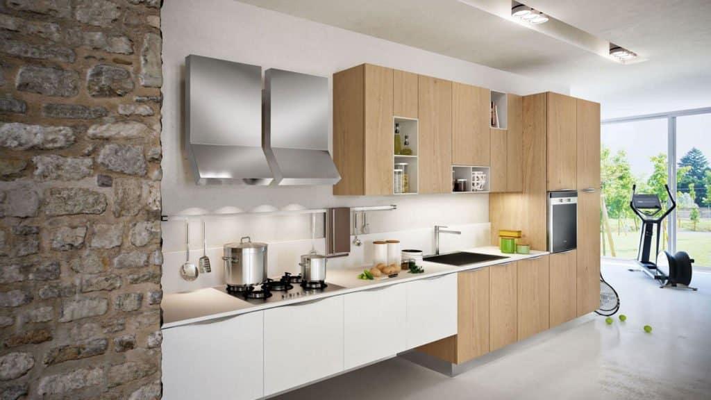 cuisine bois doré et meubles blancs