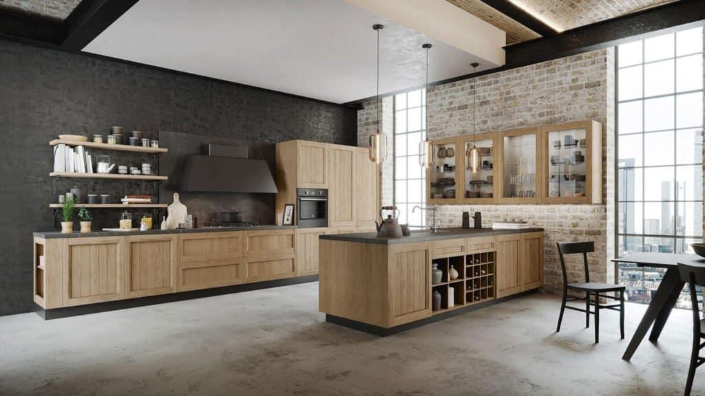 cuisine industrielle bois