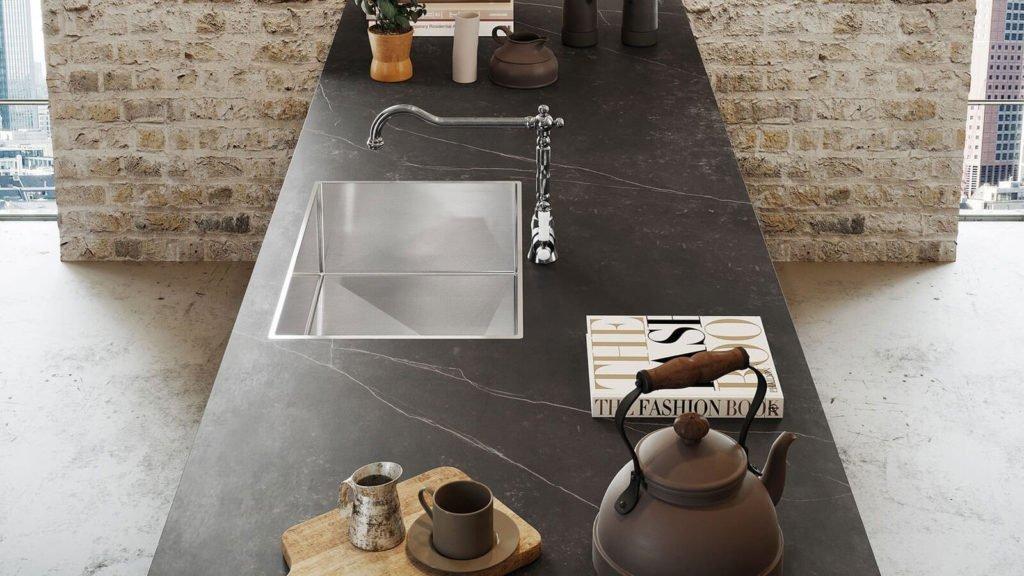 plan de travail marbre cuisine bois