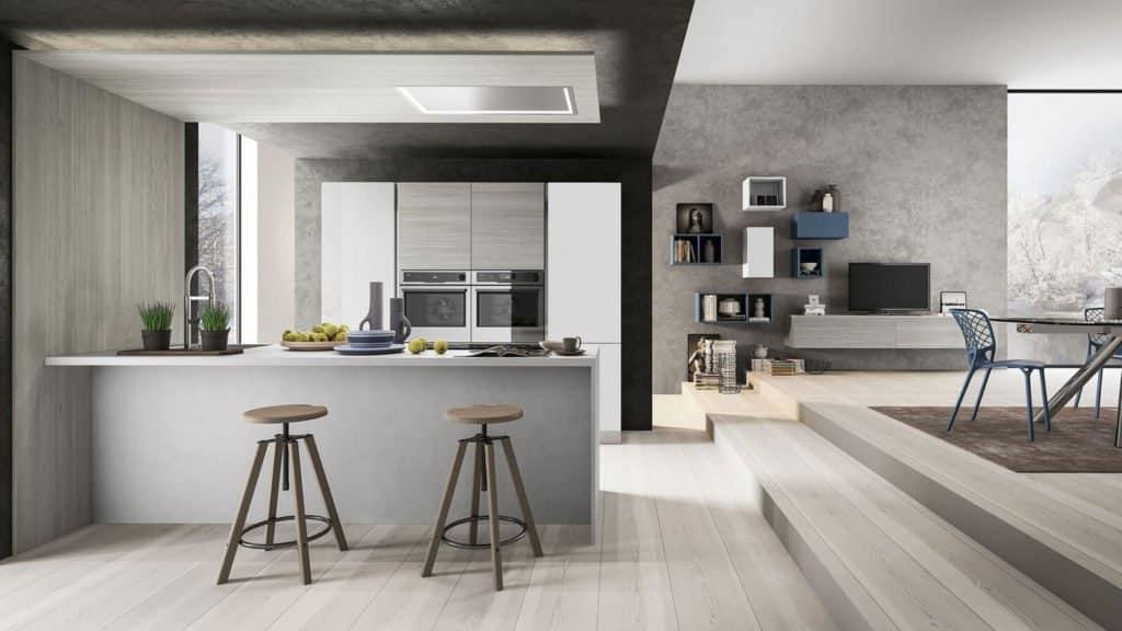 cuisine bois gris et salon