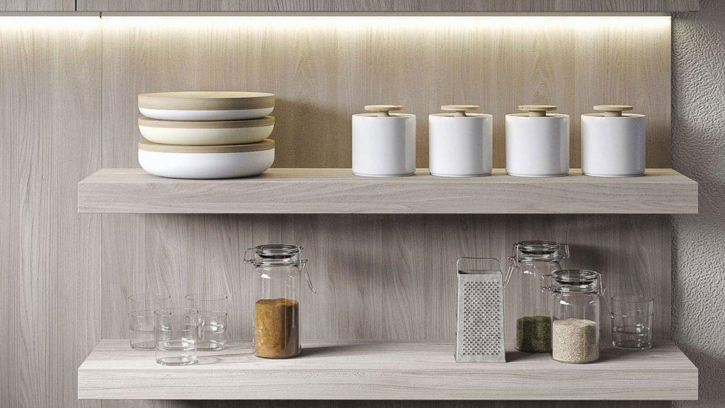 cuisine bois clair étagères