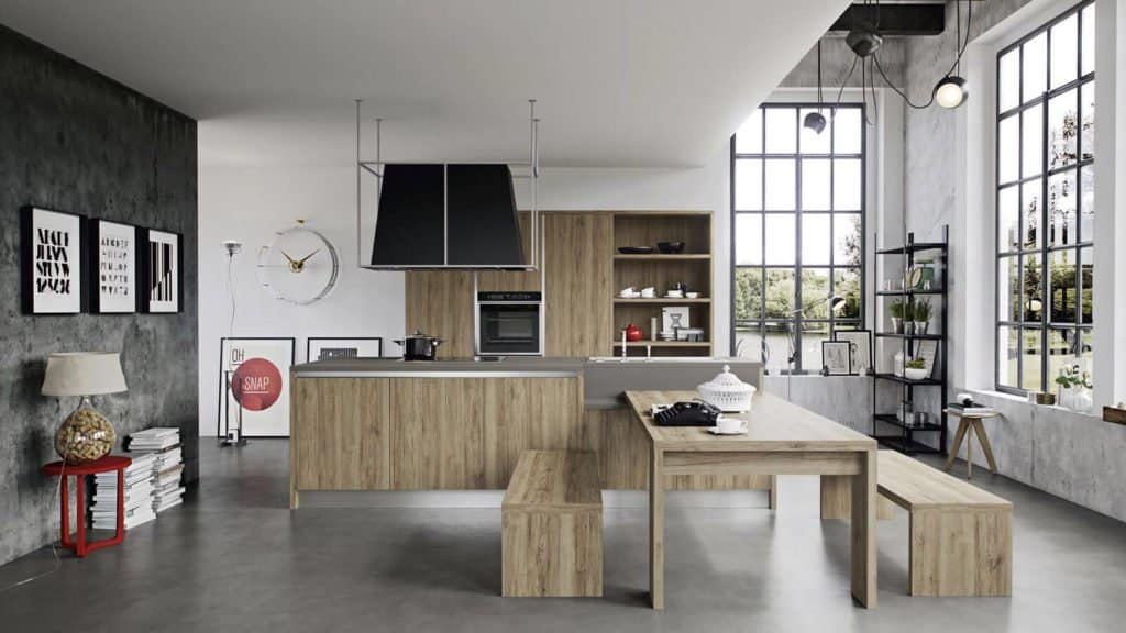 cuisine bois table associée