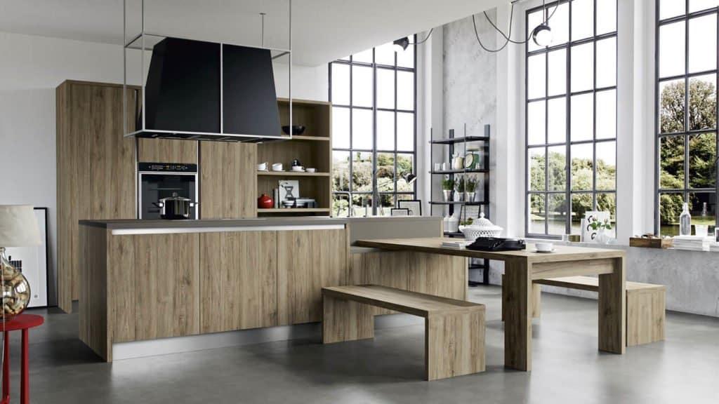 cuisine en bois vue large