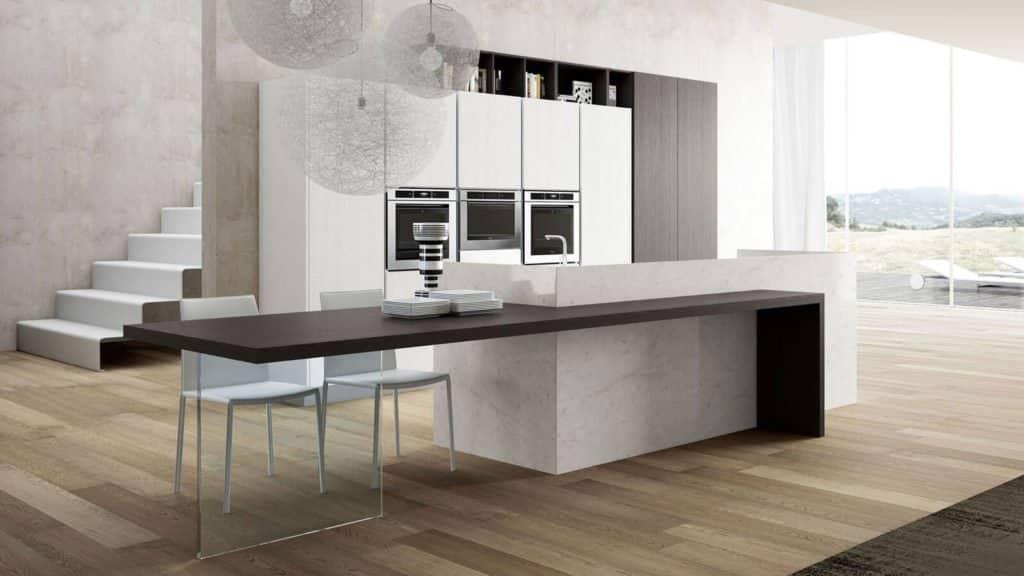 cuisine design blanche et grise ilot central