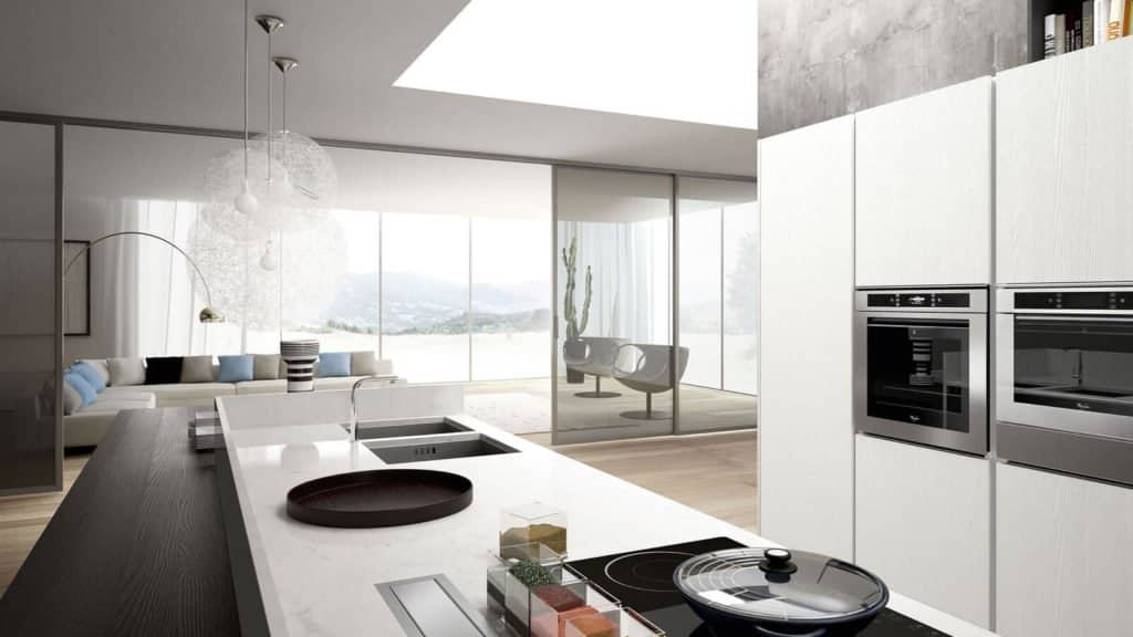 cuisine design blanche et grise équipements