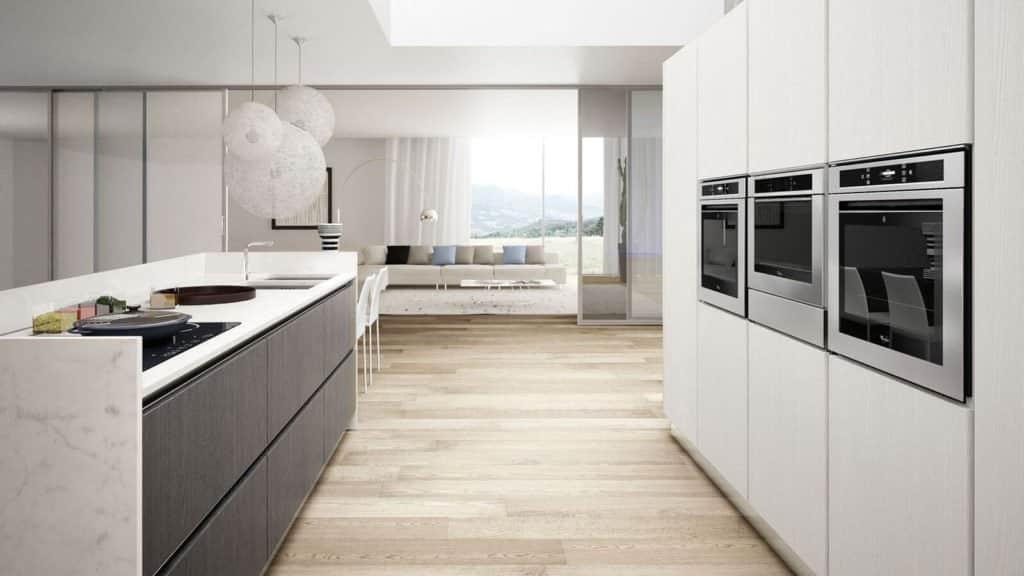 cuisine design bois blanc et gris