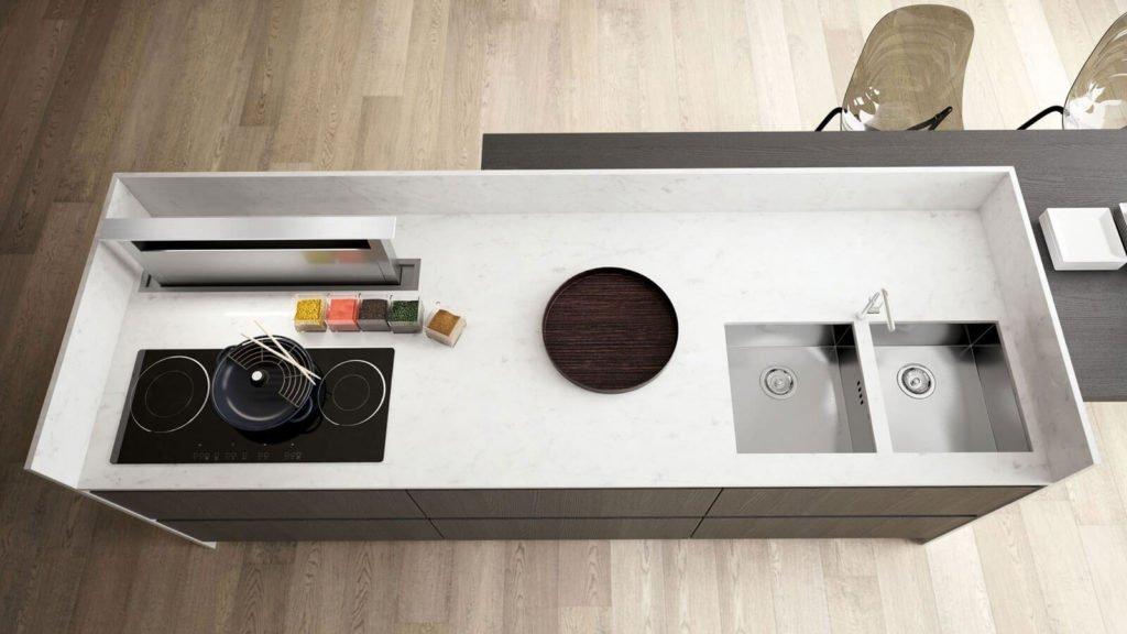 plan de travail cuisine design blanche et grise