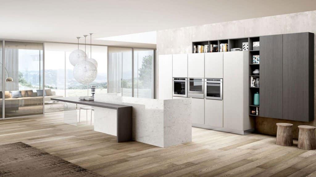 cuisine design blanche et grise géométrique