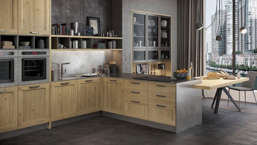 cuisine style industriel noire et bois