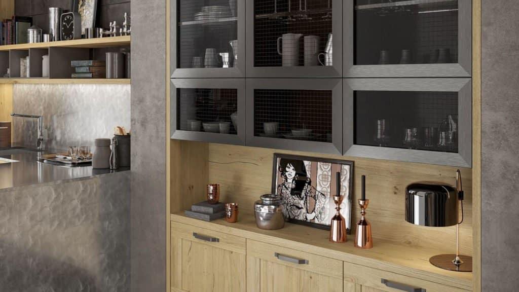 cuisine industrielle noire et bois rangements muraux