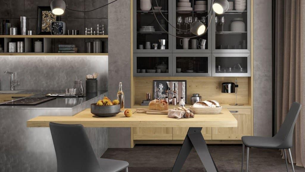 table de cuisine noire bois style industriel