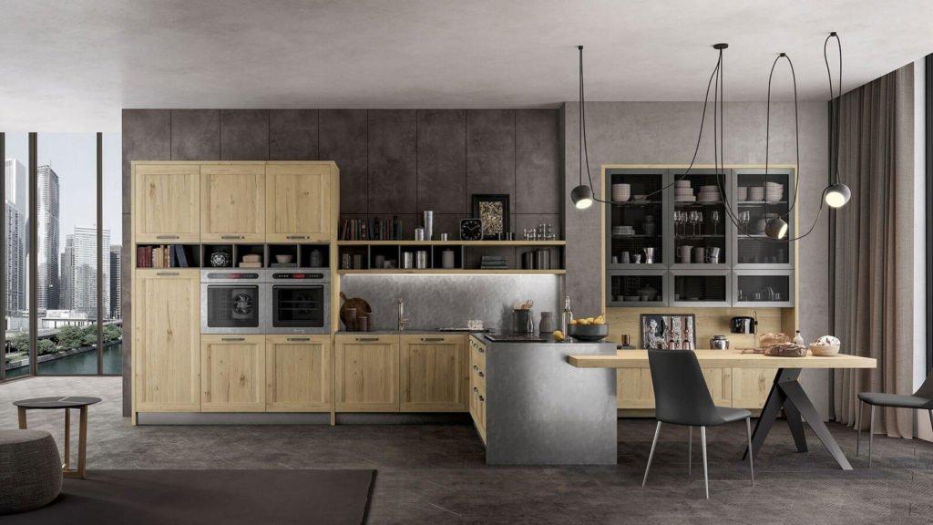 cuisine noire et bois style industriel