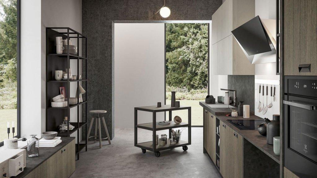 cuisine industrielle bois foncé gris