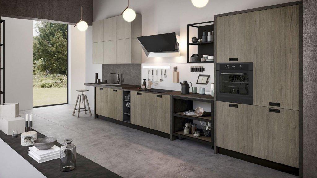 cuisine industrielle bois foncé