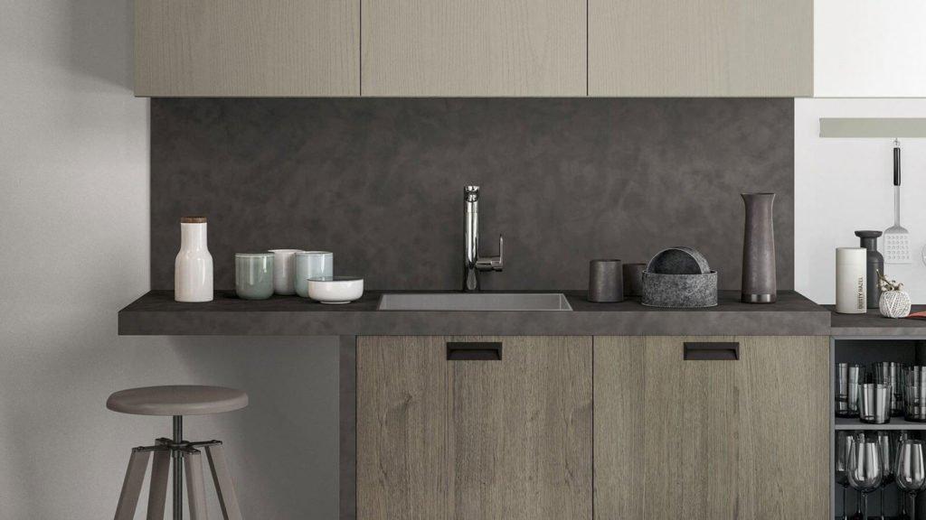 cuisine style industriel bois foncé gris evier