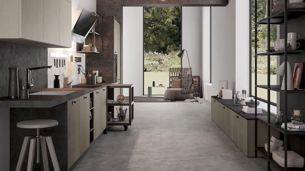 cuisine style industrielle bois foncé gris en couloir
